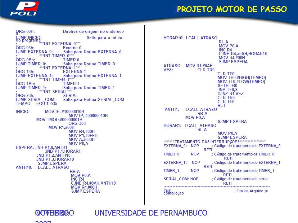 UNIVERSIDADE DE PERNAMBUCOOUTUBRO 2007 UNIVERSIDADE DE PERNAMBUCONOVEMBRO 2007 PROJETO MOTOR DE PASSO ORG 00H;Diretiva de origem no endereco 0 LJMP IN