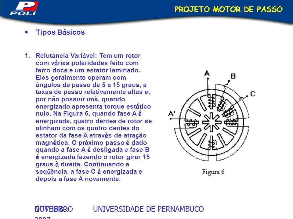 UNIVERSIDADE DE PERNAMBUCOOUTUBRO 2007 UNIVERSIDADE DE PERNAMBUCONOVEMBRO 2007 PROJETO MOTOR DE PASSO Tipos B á sicos 1.Relutância Vari á vel: Tem um