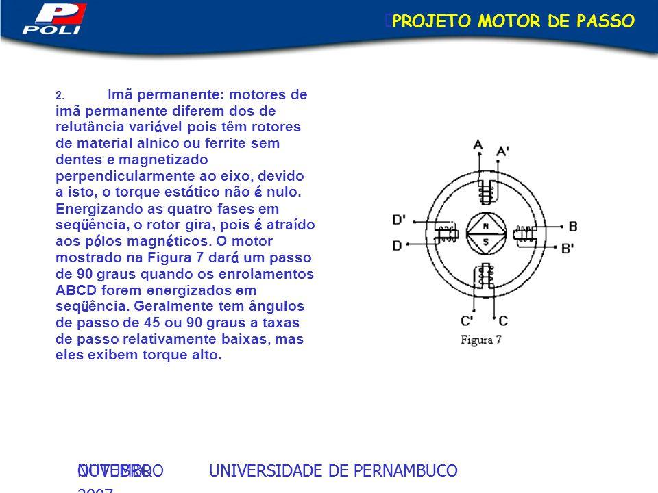 UNIVERSIDADE DE PERNAMBUCOOUTUBRO 2007 UNIVERSIDADE DE PERNAMBUCONOVEMBRO 2007 PROJETO MOTOR DE PASSO 2. Imã permanente: motores de imã permanente dif
