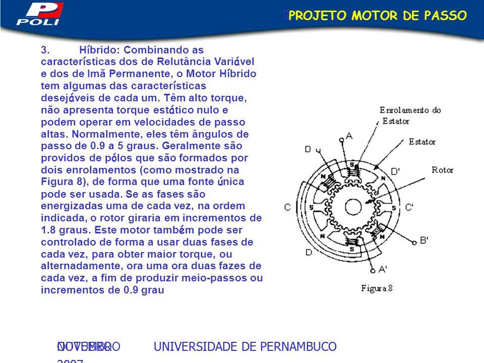 UNIVERSIDADE DE PERNAMBUCOOUTUBRO 2007 UNIVERSIDADE DE PERNAMBUCONOVEMBRO 2007 PROJETO MOTOR DE PASSO 3.H í brido: Combinando as caracter í sticas dos