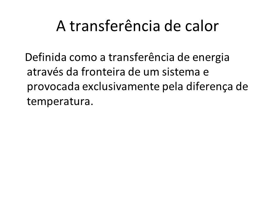 A transferência de calor Definida como a transferência de energia através da fronteira de um sistema e provocada exclusivamente pela diferença de temp