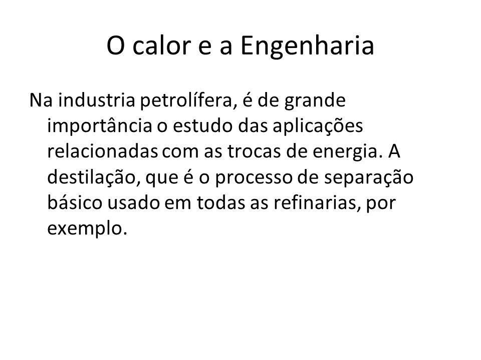 O calor e a Engenharia Na industria petrolífera, é de grande importância o estudo das aplicações relacionadas com as trocas de energia. A destilação,