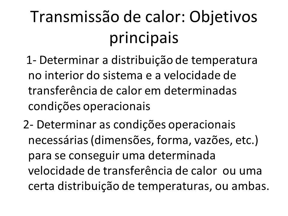 Transmissão de calor: Objetivos principais 1- Determinar a distribuição de temperatura no interior do sistema e a velocidade de transferência de calor