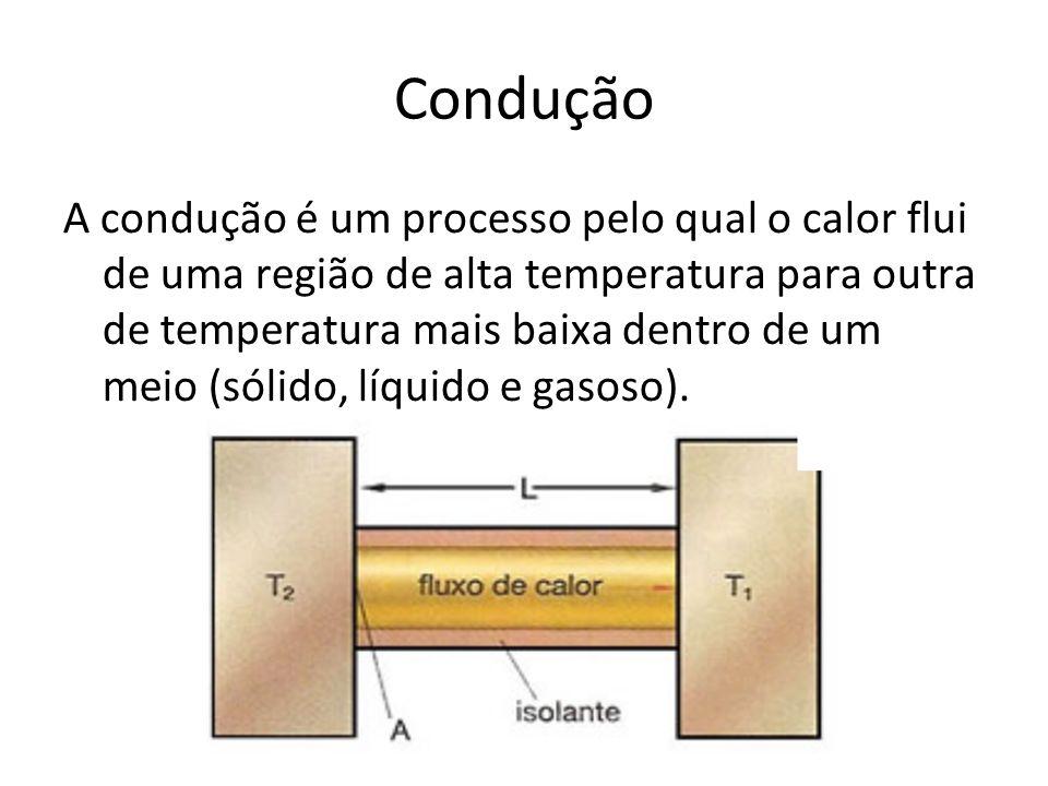 Condução A condução é um processo pelo qual o calor flui de uma região de alta temperatura para outra de temperatura mais baixa dentro de um meio (sól