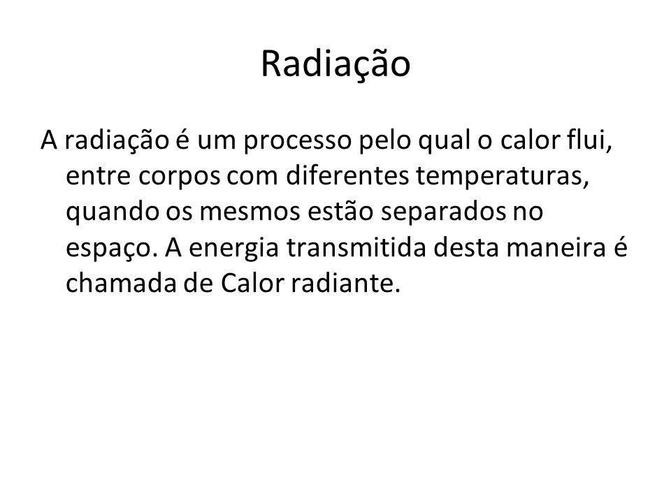 Radiação A radiação é um processo pelo qual o calor flui, entre corpos com diferentes temperaturas, quando os mesmos estão separados no espaço. A ener