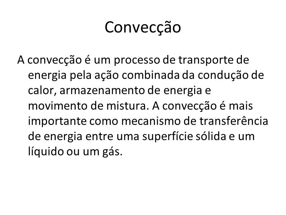 Convecção A convecção é um processo de transporte de energia pela ação combinada da condução de calor, armazenamento de energia e movimento de mistura