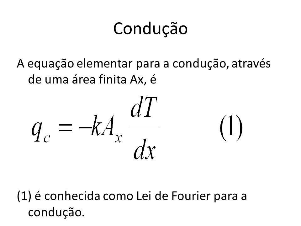 Condução A equação elementar para a condução, através de uma área finita Ax, é (1) é conhecida como Lei de Fourier para a condução.
