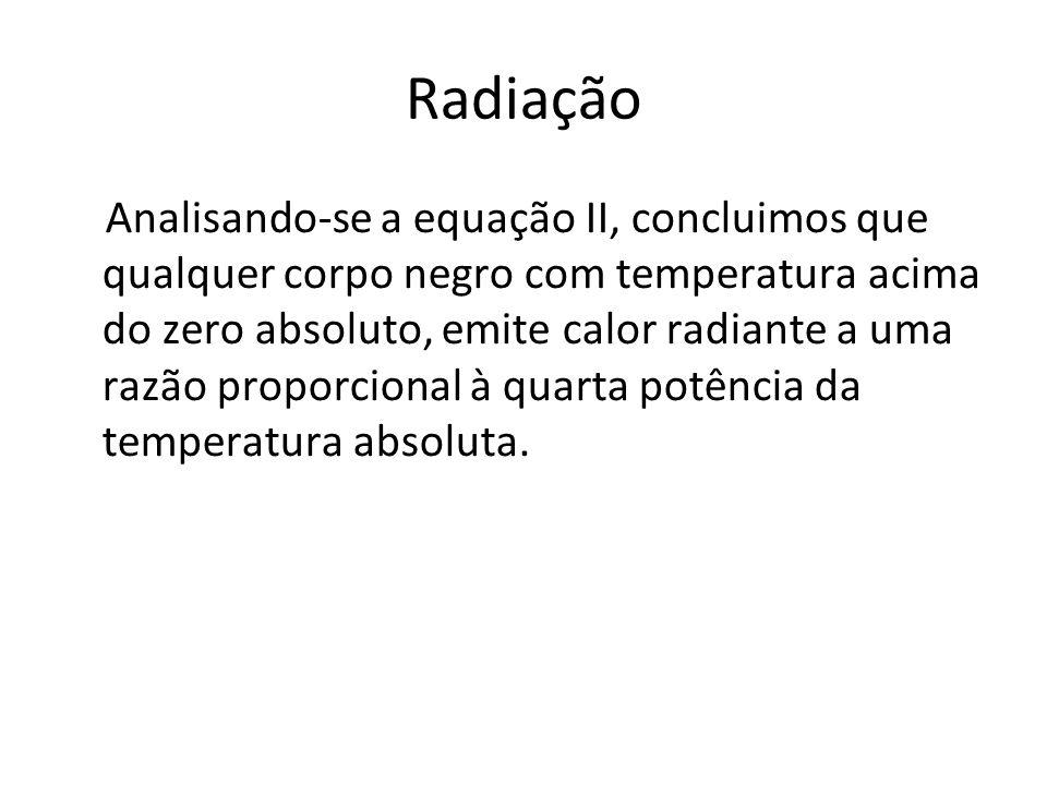 Radiação Analisando-se a equação II, concluimos que qualquer corpo negro com temperatura acima do zero absoluto, emite calor radiante a uma razão prop
