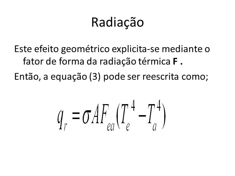 Radiação Este efeito geométrico explicita-se mediante o fator de forma da radiação térmica F. Então, a equação (3) pode ser reescrita como;