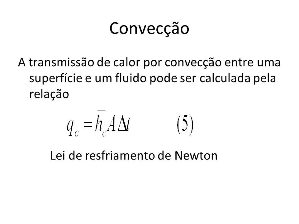 Convecção A transmissão de calor por convecção entre uma superfície e um fluido pode ser calculada pela relação Lei de resfriamento de Newton