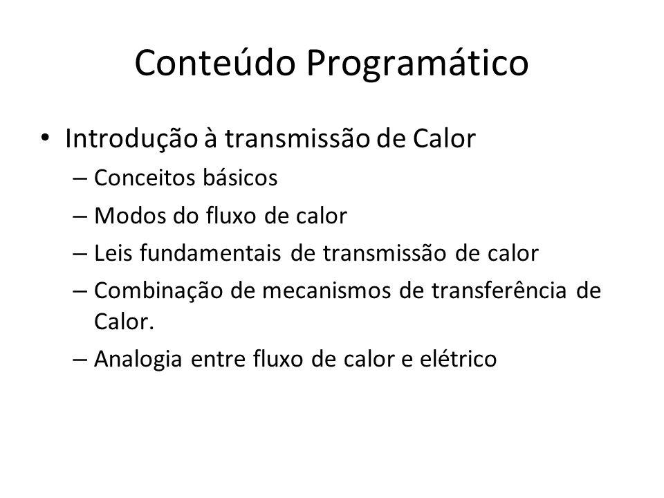 Conteúdo Programático Introdução à transmissão de Calor – Conceitos básicos – Modos do fluxo de calor – Leis fundamentais de transmissão de calor – Co
