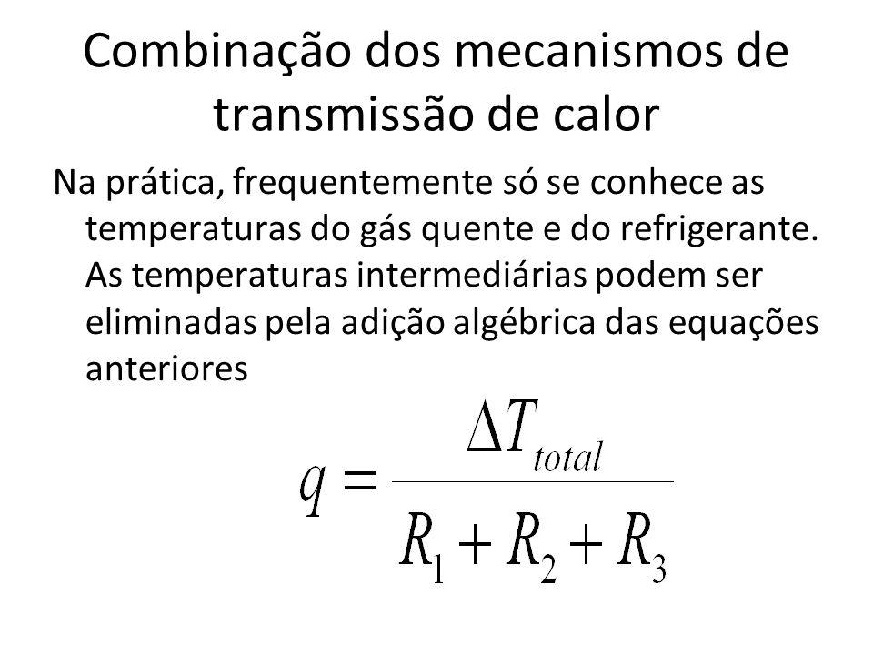 Combinação dos mecanismos de transmissão de calor Na prática, frequentemente só se conhece as temperaturas do gás quente e do refrigerante. As tempera