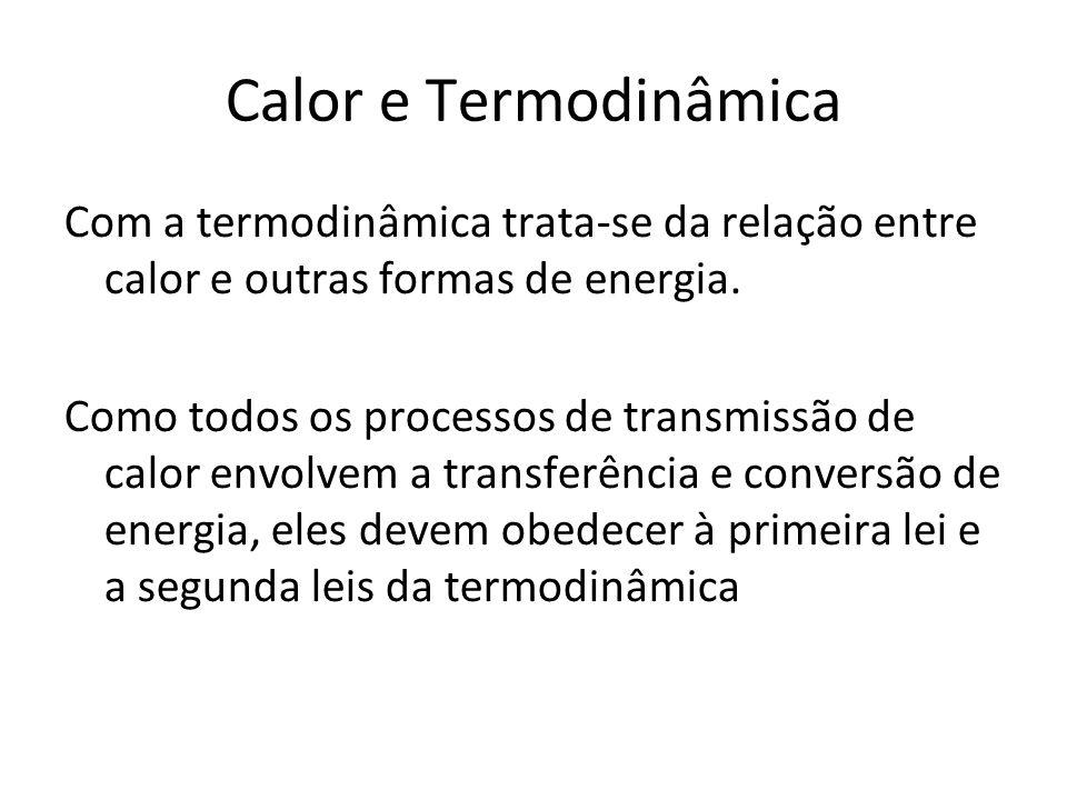 Calor e Termodinâmica Com a termodinâmica trata-se da relação entre calor e outras formas de energia. Como todos os processos de transmissão de calor