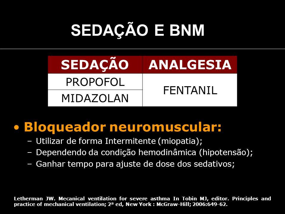SEDAÇÃO E BNM SEDAÇÃOANALGESIA PROPOFOL FENTANIL MIDAZOLAN Bloqueador neuromuscular: –Utilizar de forma Intermitente (miopatia); –Dependendo da condiç