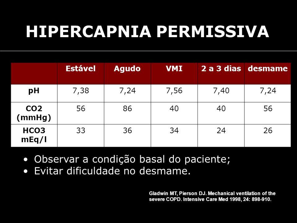 EstávelAgudoVMI2 a 3 diasdesmame pH7,387,247,567,407,24 CO2 (mmHg) 568640 56 HCO3 mEq/l 3336342426 Observar a condição basal do paciente; Evitar dific