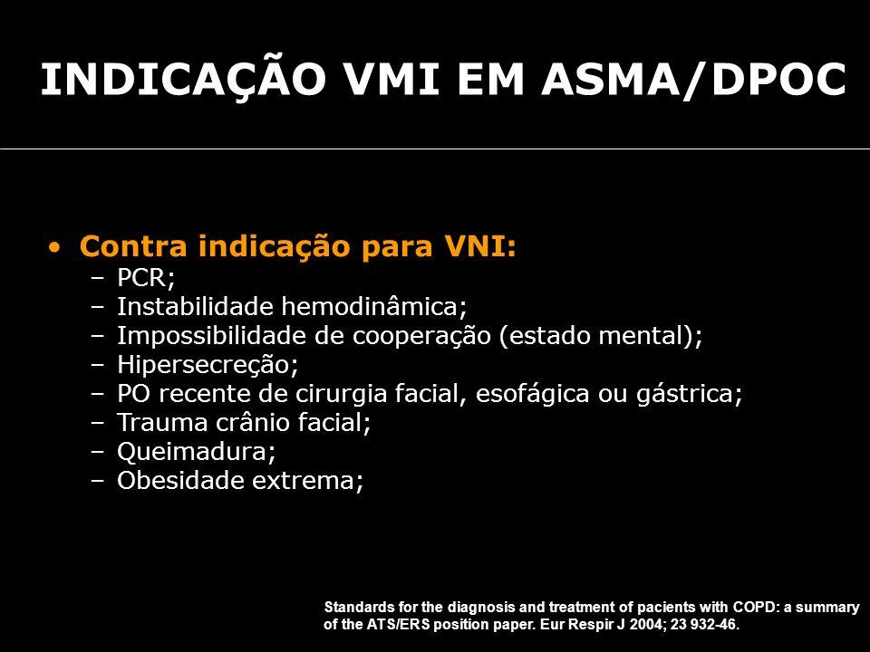 Contra indicação para VNI: –PCR; –Instabilidade hemodinâmica; –Impossibilidade de cooperação (estado mental); –Hipersecreção; –PO recente de cirurgia