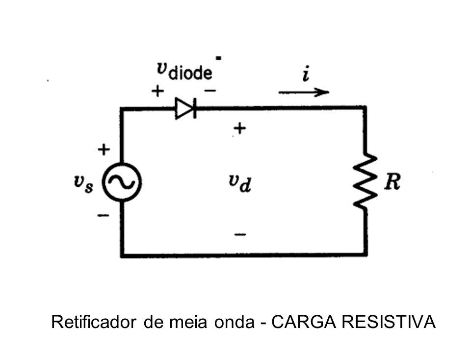 Cada diodo conduz metade da corrente de carga A tensão média na carga é o dobro da tensão média do RMO Condução é dita contínua – precisa de trafo para operar Tensão anodo-catodo é o dobro da Vak do RMO