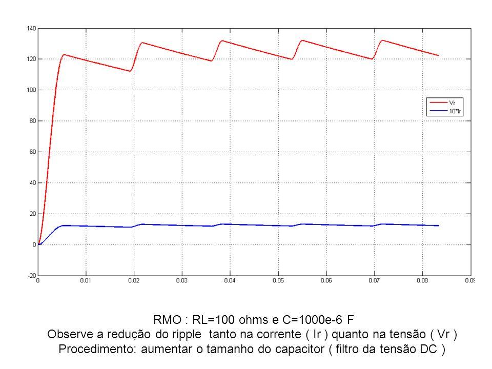 RMO : RL=100 ohms e C=1000e-6 F Observe a redução do ripple tanto na corrente ( Ir ) quanto na tensão ( Vr ) Procedimento: aumentar o tamanho do capac