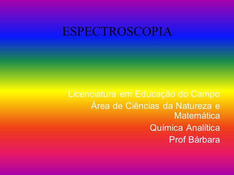 ESPECTROSCOPIA Licenciatura em Educação do Campo Área de Ciências da Natureza e Matemática Química Analítica Prof Bárbara
