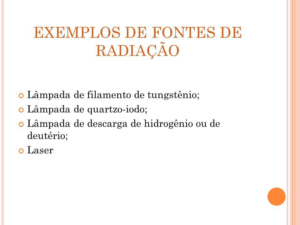 EXEMPLOS DE FONTES DE RADIAÇÃO Lâmpada de filamento de tungstênio; Lâmpada de quartzo-iodo; Lâmpada de descarga de hidrogênio ou de deutério; Laser