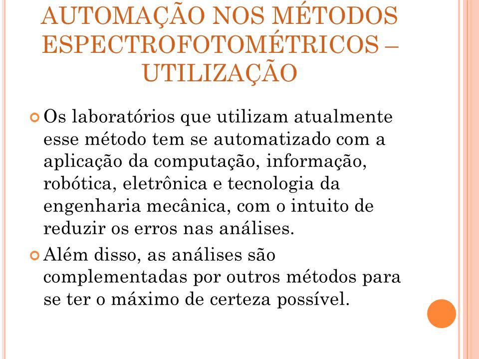AUTOMAÇÃO NOS MÉTODOS ESPECTROFOTOMÉTRICOS – UTILIZAÇÃO Os laboratórios que utilizam atualmente esse método tem se automatizado com a aplicação da com