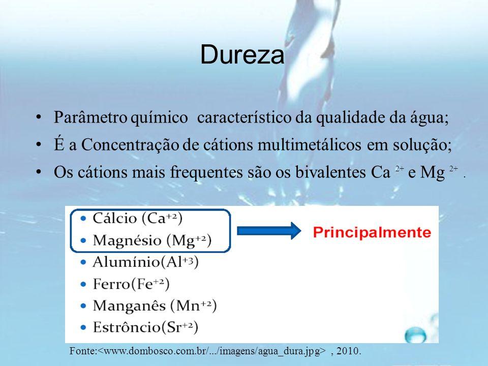 Dureza Parâmetro químico característico da qualidade da água; É a Concentração de cátions multimetálicos em solução; Os cátions mais frequentes são os