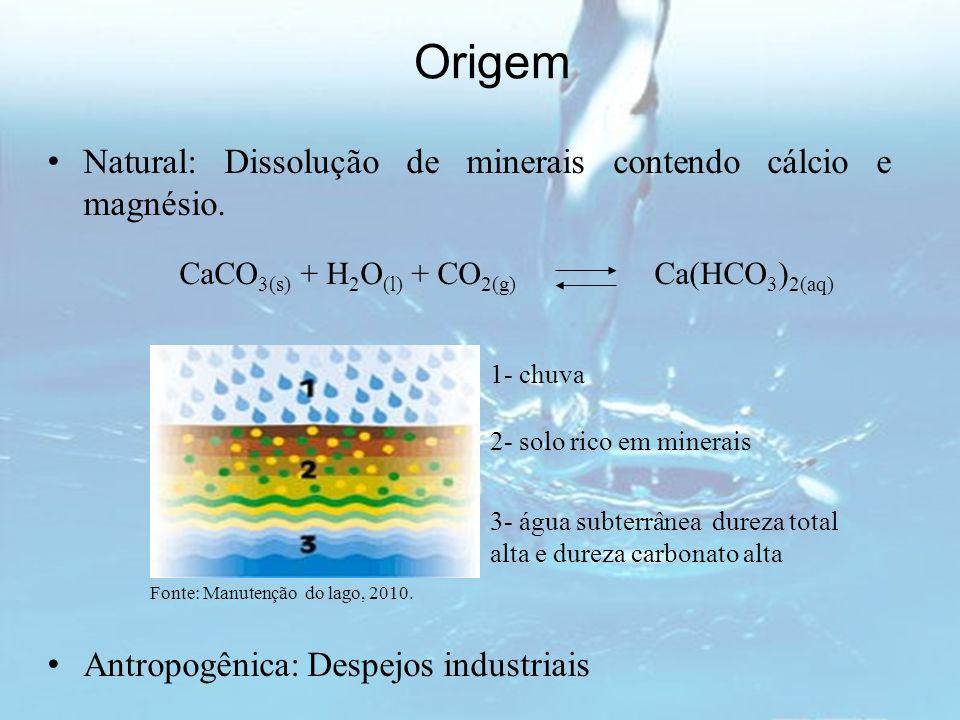 Origem Natural: Dissolução de minerais contendo cálcio e magnésio. CaCO 3(s) + H 2 O (l) + CO 2(g) Ca(HCO 3 ) 2(aq) Fonte: Manutenção do lago, 2010. A