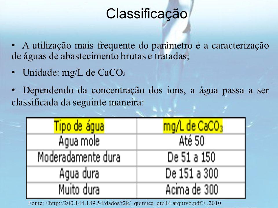 Dependendo da concentração dos íons, a água passa a ser classificada da seguinte maneira: Classificação A utilização mais frequente do parâmetro é a c