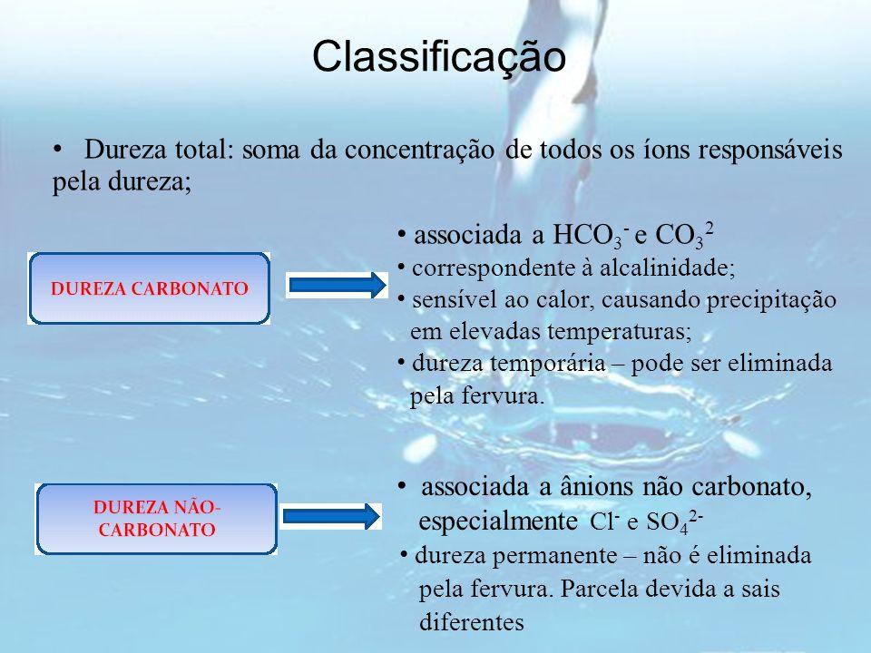Classificação associada a HCO 3 - e CO 3 2 correspondente à alcalinidade; sensível ao calor, causando precipitação em elevadas temperaturas; dureza te