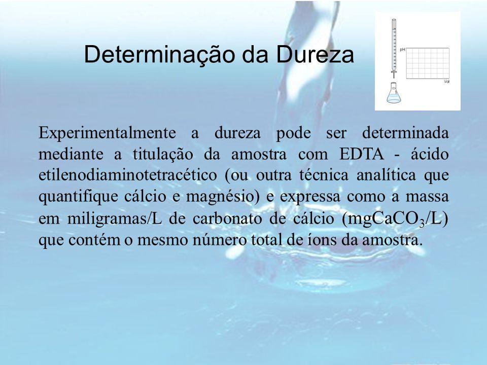 Determinação da Dureza Experimentalmente a dureza pode ser determinada mediante a titulação da amostra com EDTA - ácido etilenodiaminotetracético (ou