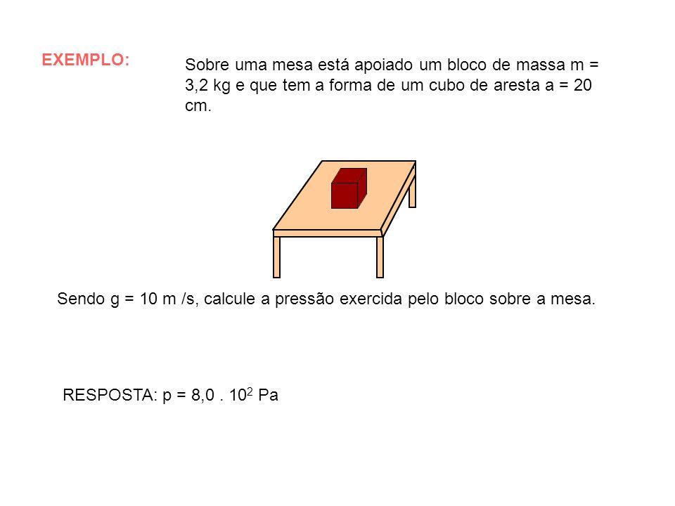 EXEMPLO: Sobre uma mesa está apoiado um bloco de massa m = 3,2 kg e que tem a forma de um cubo de aresta a = 20 cm. Sendo g = 10 m /s, calcule a press