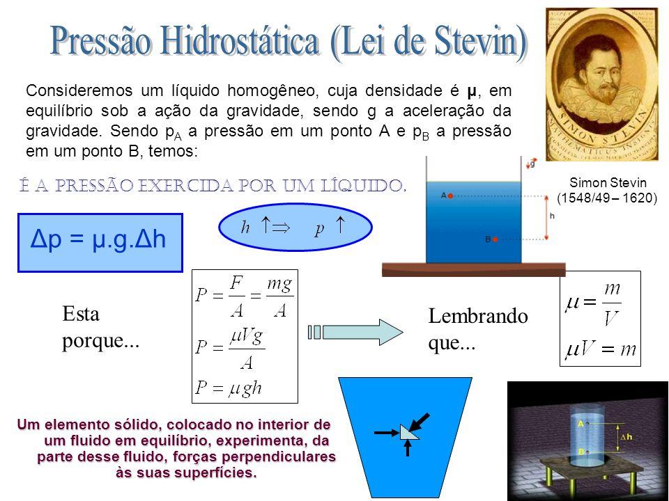 Esta porque... Lembrando que... Um elemento sólido, colocado no interior de um fluido em equilíbrio, experimenta, da parte desse fluido, forças perpen