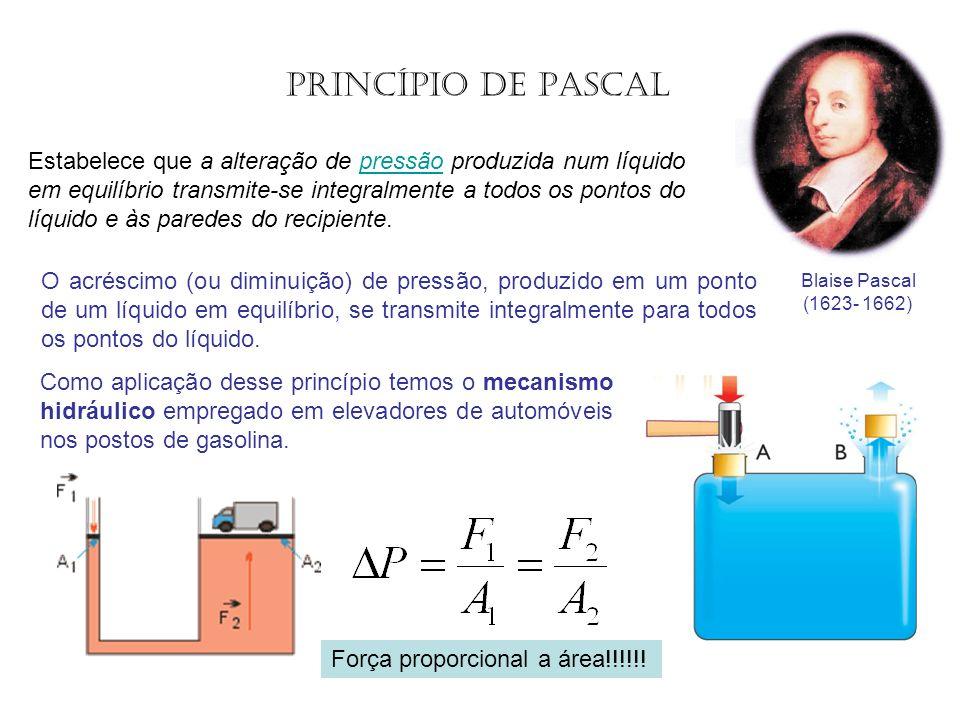 Estabelece que a alteração de pressão produzida num líquido em equilíbrio transmite-se integralmente a todos os pontos do líquido e às paredes do reci