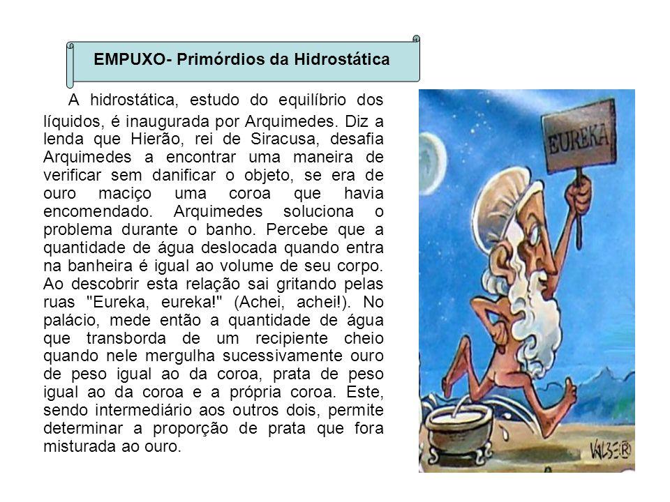 A hidrostática, estudo do equilíbrio dos líquidos, é inaugurada por Arquimedes. Diz a lenda que Hierão, rei de Siracusa, desafia Arquimedes a encontra