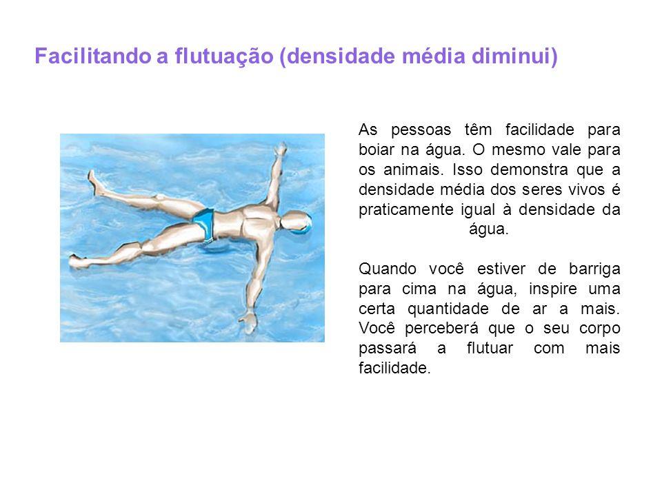 Facilitando a flutuação (densidade média diminui) As pessoas têm facilidade para boiar na água. O mesmo vale para os animais. Isso demonstra que a den