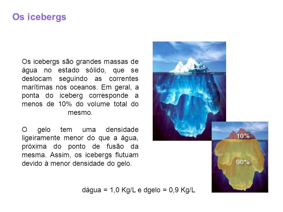 Os icebergs Os icebergs são grandes massas de água no estado sólido, que se deslocam seguindo as correntes marítimas nos oceanos. Em geral, a ponta do