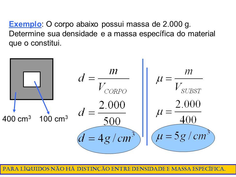 Exemplo: O corpo abaixo possui massa de 2.000 g. Determine sua densidade e a massa específica do material que o constitui. 400 cm 3 100 cm 3 Para líqu
