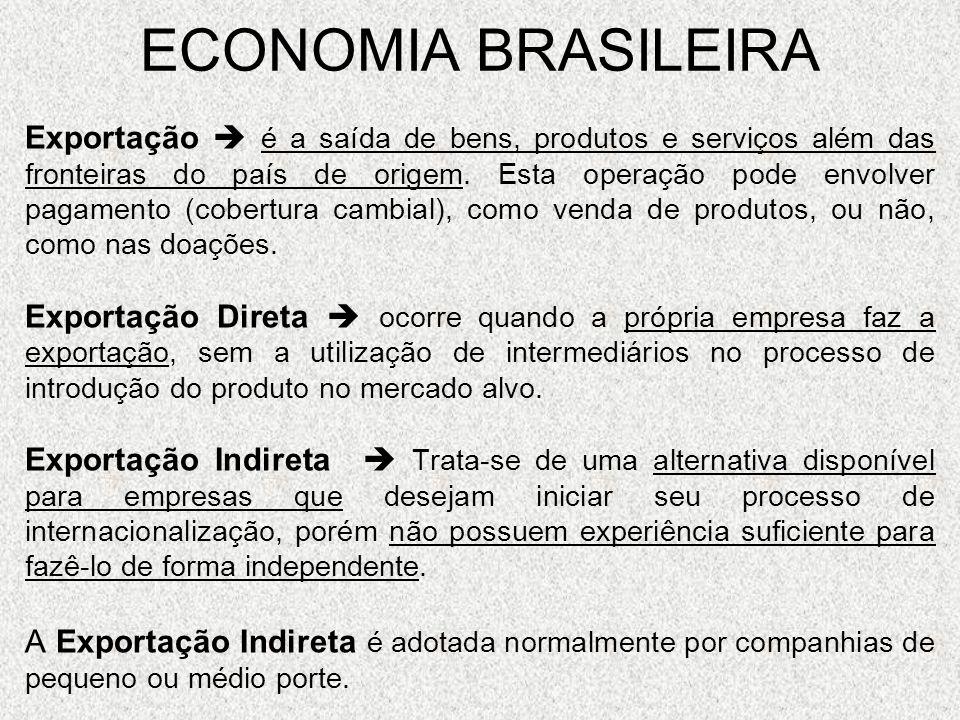 ECONOMIA BRASILEIRA Exportação é a saída de bens, produtos e serviços além das fronteiras do país de origem. Esta operação pode envolver pagamento (co