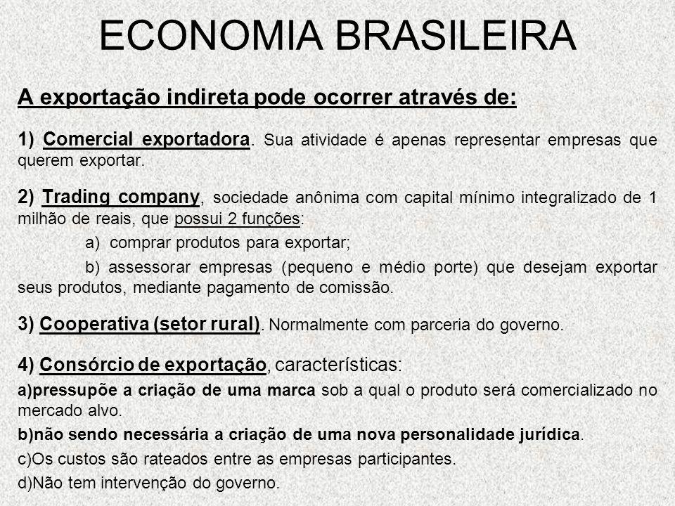 ECONOMIA BRASILEIRA A exportação indireta pode ocorrer através de: 1) Comercial exportadora. Sua atividade é apenas representar empresas que querem ex