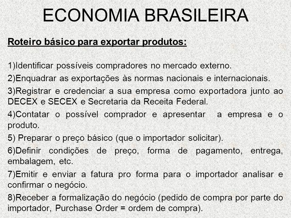 ECONOMIA BRASILEIRA Roteiro básico para exportar produtos: 1)Identificar possíveis compradores no mercado externo. 2)Enquadrar as exportações às norma