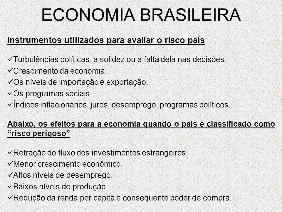 ECONOMIA BRASILEIRA Instrumentos utilizados para avaliar o risco país Turbulências políticas, a solidez ou a falta dela nas decisões. Crescimento da e