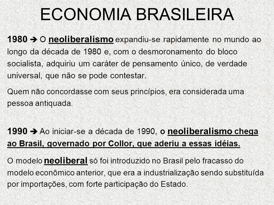 ECONOMIA BRASILEIRA 1980 O neoliberalismo expandiu-se rapidamente no mundo ao longo da década de 1980 e, com o desmoronamento do bloco socialista, adq