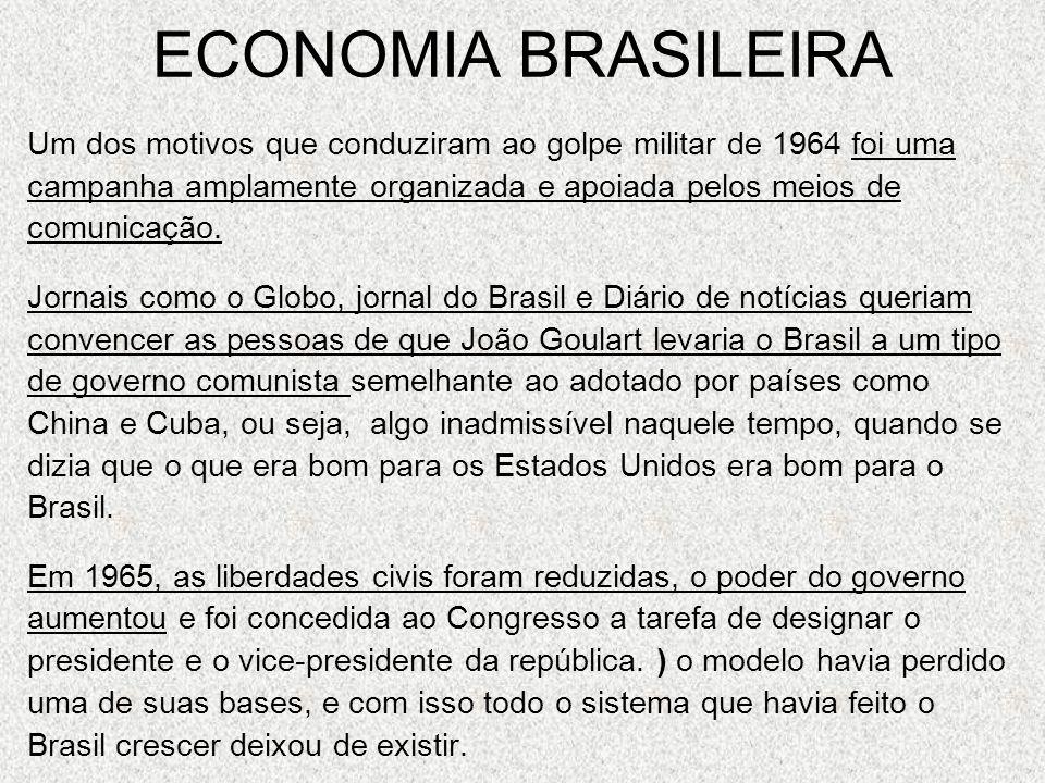 ECONOMIA BRASILEIRA Um dos motivos que conduziram ao golpe militar de 1964 foi uma campanha amplamente organizada e apoiada pelos meios de comunicação