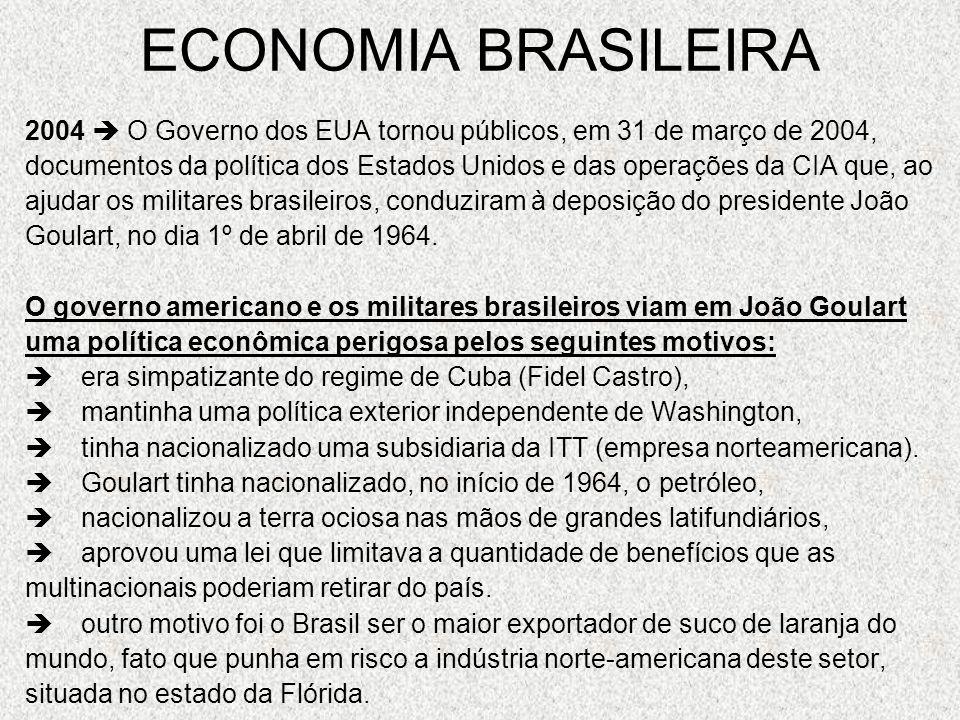 ECONOMIA BRASILEIRA 2004 O Governo dos EUA tornou públicos, em 31 de março de 2004, documentos da política dos Estados Unidos e das operações da CIA q