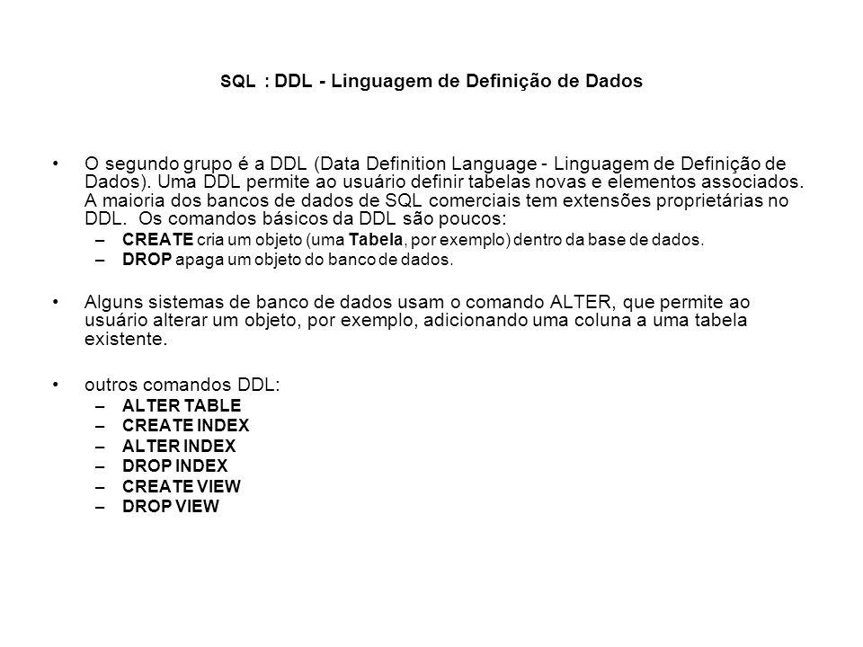 SQL : DDL - Linguagem de Definição de Dados O segundo grupo é a DDL (Data Definition Language - Linguagem de Definição de Dados). Uma DDL permite ao u