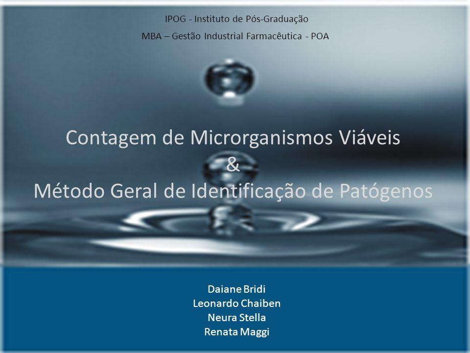 Contagem de Microrganismos Viáveis & Método Geral de Identificação de Patógenos IPOG - Instituto de Pós-Graduação MBA – Gestão Industrial Farmacêutica