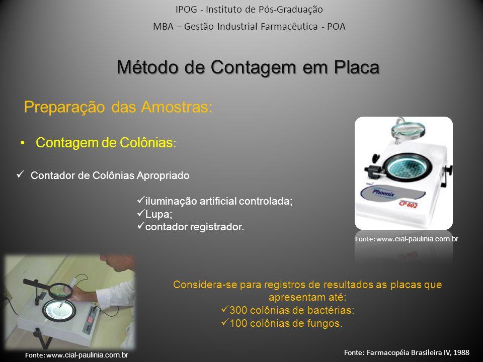 IPOG - Instituto de Pós-Graduação MBA – Gestão Industrial Farmacêutica - POA Método de Contagem em Placa Preparação das Amostras: Contagem de Colônias