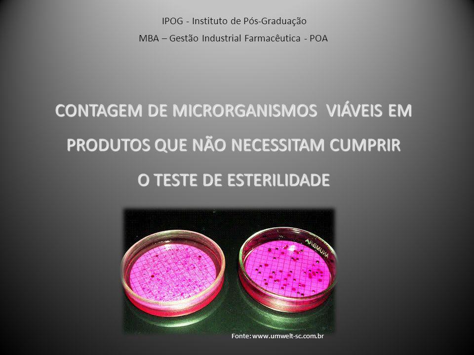 Contagem de Microrganismos Viáveis Totais Determina o n° de bactérias e fungos em produtos e MP não estéreis; Contagem por crescimento visível: 4 dias – Ágar Caseína-soja(30 -35°) 7 dias – Ágar Sabouraud-dextrose(20 -25°) Determinação: IPOG - Instituto de Pós-Graduação MBA – Gestão Industrial Farmacêutica - POA Método Filtração por Membrana Contagem por Placas Tubos Múltiplos Fonte: Farmacopéia Brasileira IV, 1988 Fonte: www.