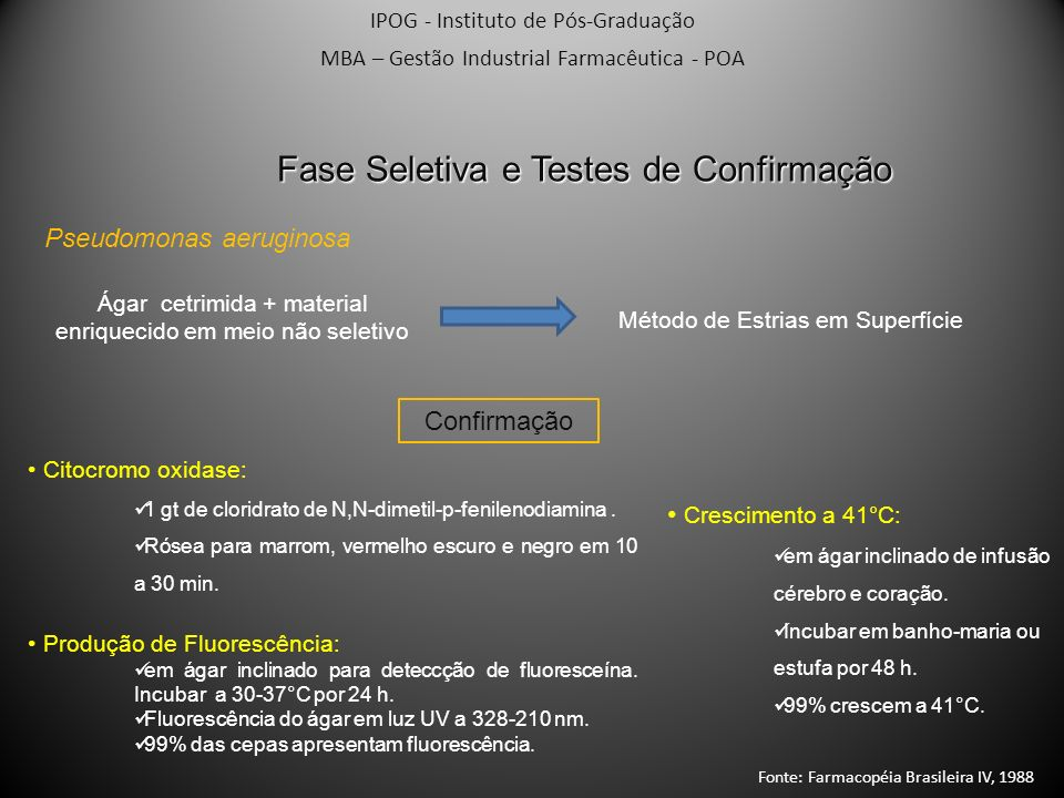 IPOG - Instituto de Pós-Graduação MBA – Gestão Industrial Farmacêutica - POA Fase Seletiva e Testes de Confirmação Pseudomonas aeruginosa Confirmação