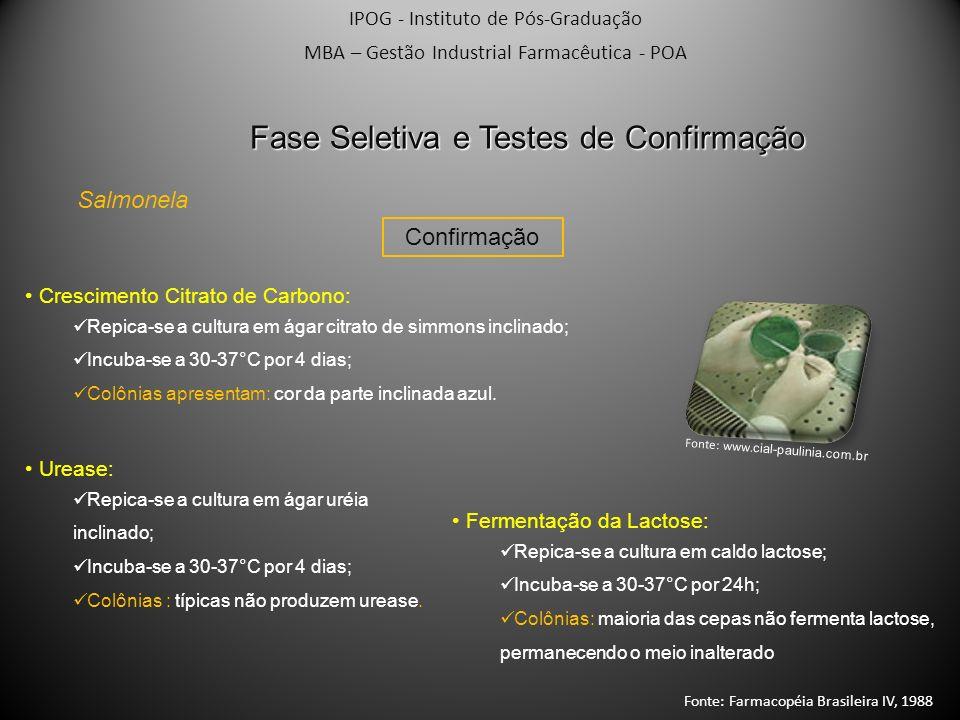 IPOG - Instituto de Pós-Graduação MBA – Gestão Industrial Farmacêutica - POA Confirmação Salmonela Fase Seletiva e Testes de Confirmação Crescimento C